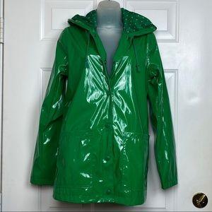 Xhilaration Green polka dot rain jacket size M